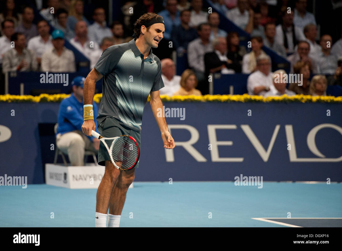 Basel, Switzerland. 27th Oct, 2013. Roger Federer (SUI) yells out of frustration during the final of the Swiss Indoors at St. Jakobshalle on Sunday. Photo: Miroslav Dakov/ Alamy Live News - Stock Image