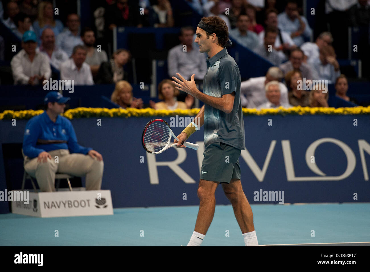 Basel, Switzerland. 27th Oct, 2013. Roger Federer (SUI) angry during the final of the Swiss Indoors at St. Jakobshalle on Sunday. Photo: Miroslav Dakov/ Alamy Live News - Stock Image