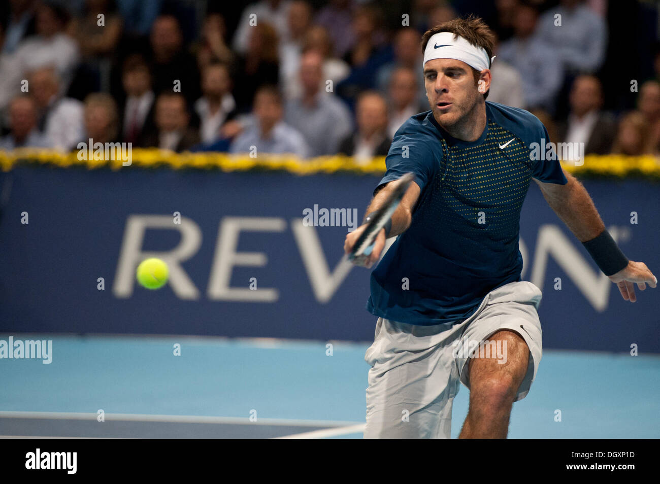 Basel, Switzerland. 27th Oct, 2013. J.M. Del Potro (ARG) reaches for the ball during the final of the Swiss Indoors at St. Jakobshalle on Sunday. Photo: Miroslav Dakov/ Alamy Live News - Stock Image