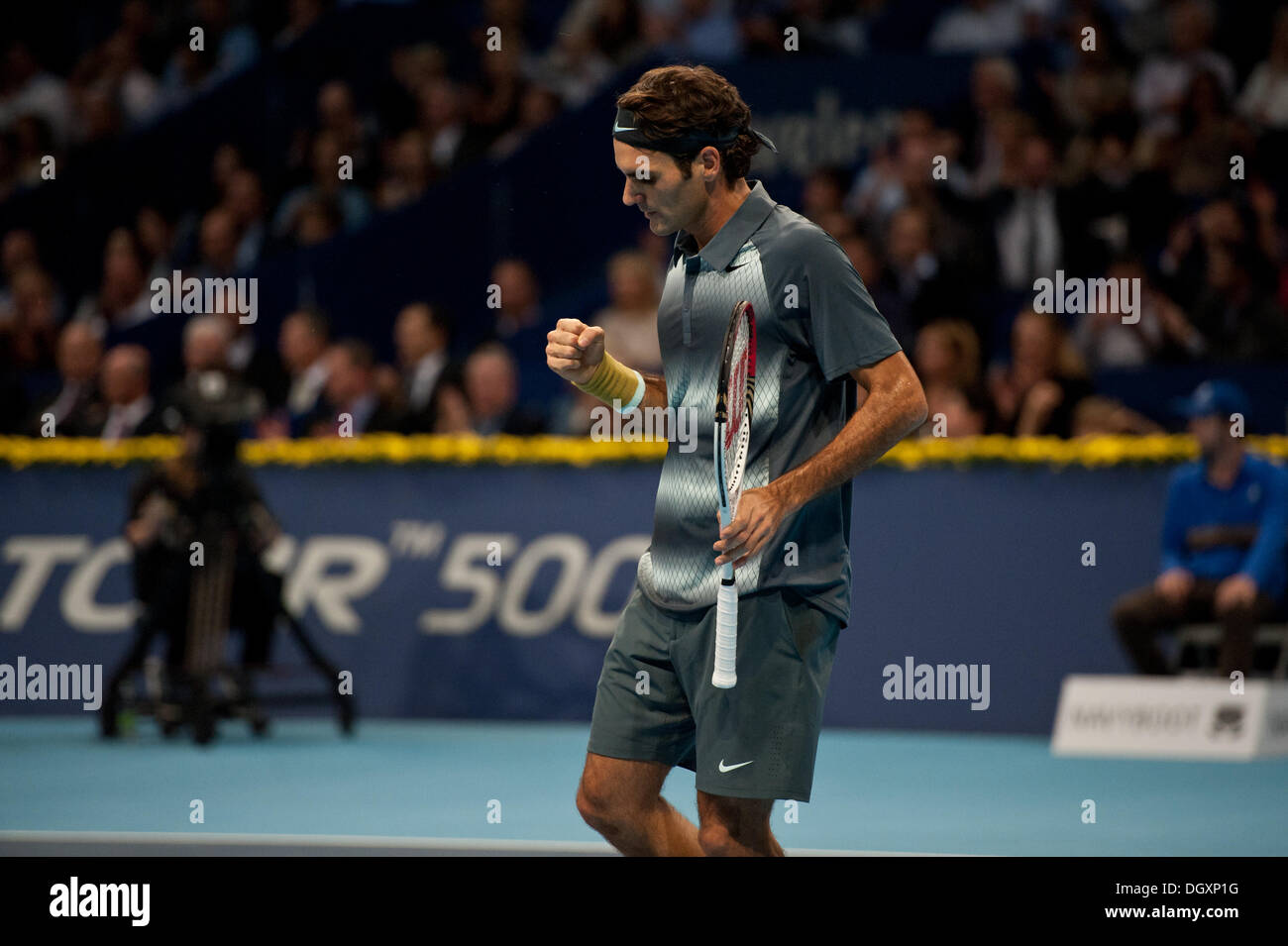 Basel, Switzerland. 27th Oct, 2013. Roger Federer (SUI) cheers during the final of the Swiss Indoors at St. Jakobshalle on Sunday. Photo: Miroslav Dakov/ Alamy Live News - Stock Image