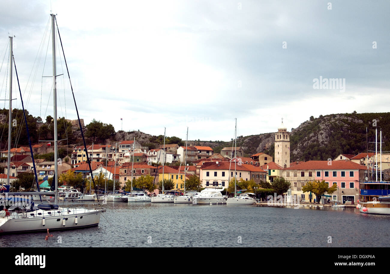 The tranquil harbour at Skradin, access town for the Krka National Park on Croatia's Dalmatian coast - Stock Image