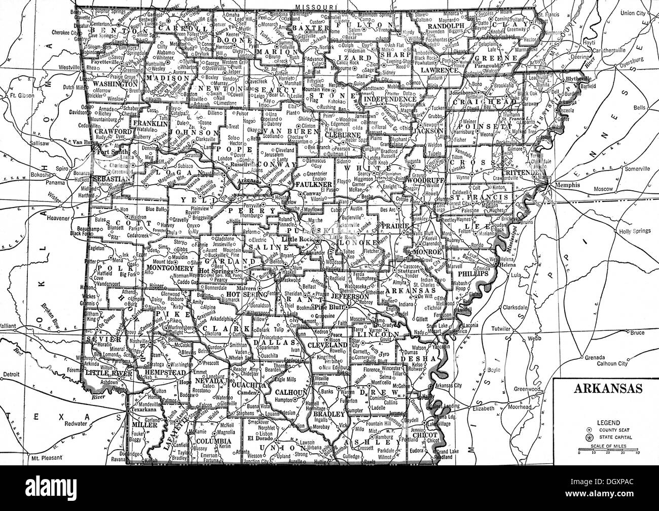 Old map of Arkansas state, 1930\'s Stock Photo: 62053892 - Alamy