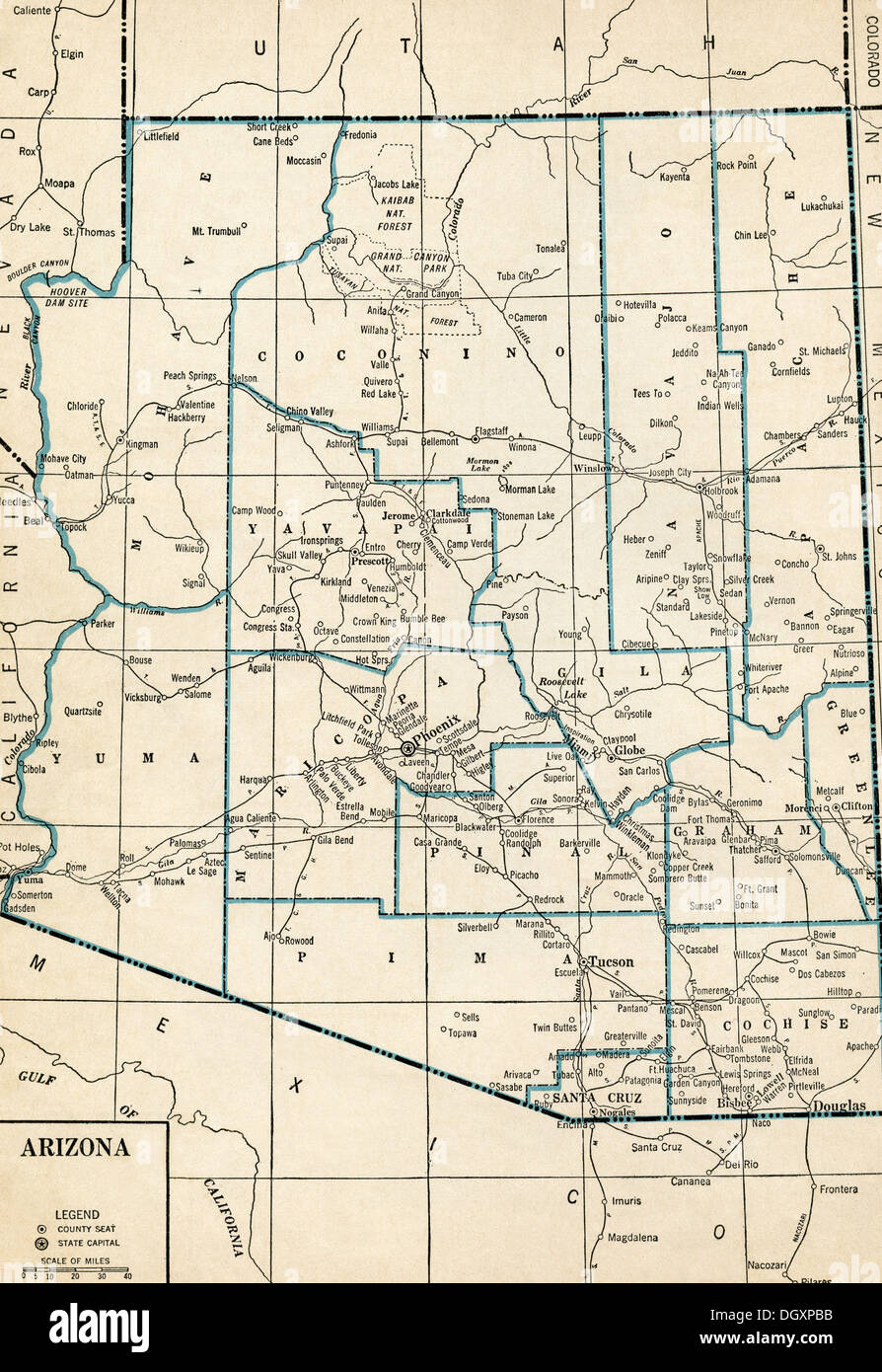 Map Of Old Arizona.Old Map Of Arizona State 1930 S Stock Photo 62053919 Alamy