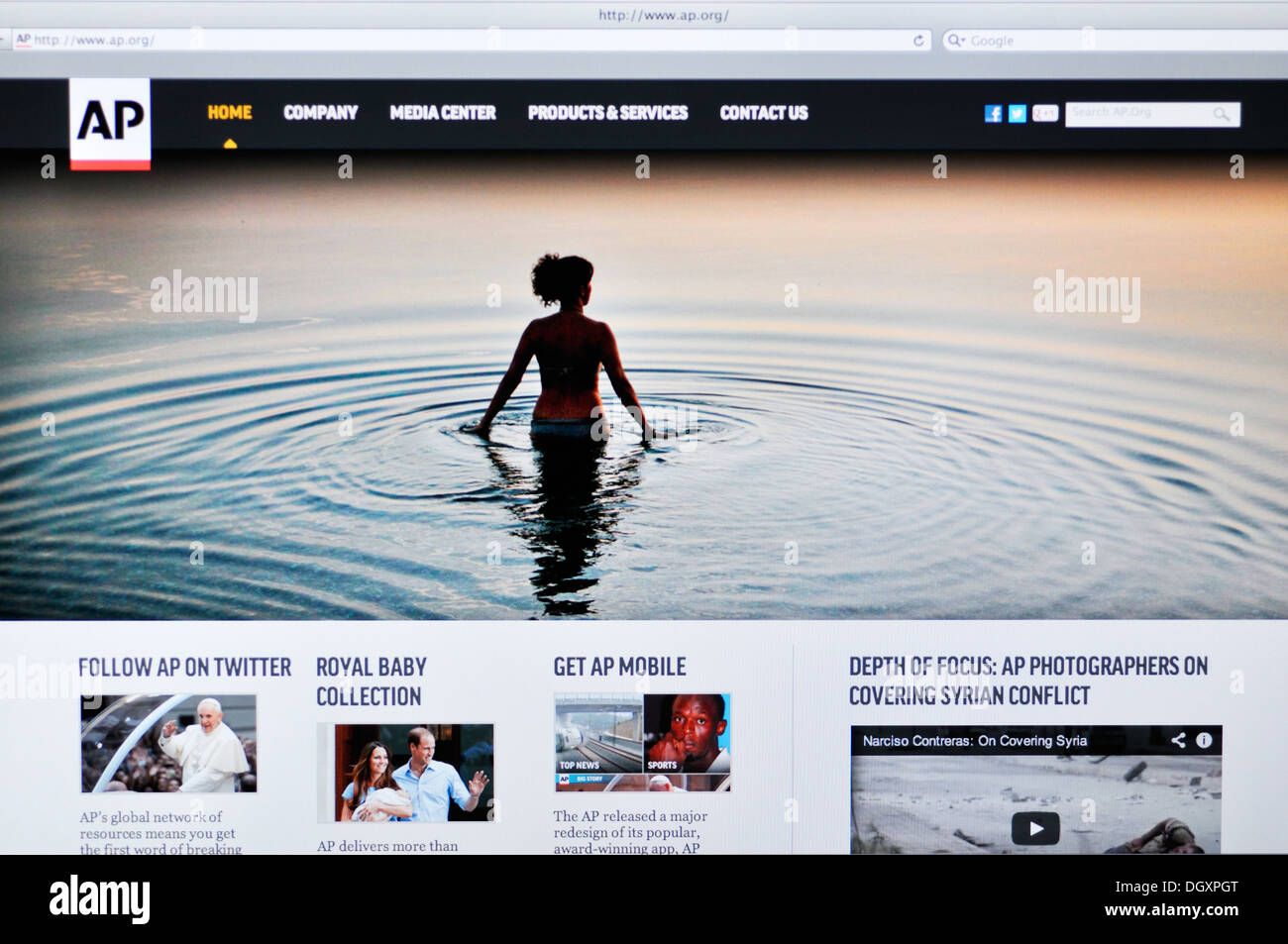 Associated Press website on computer screen - Stock Image