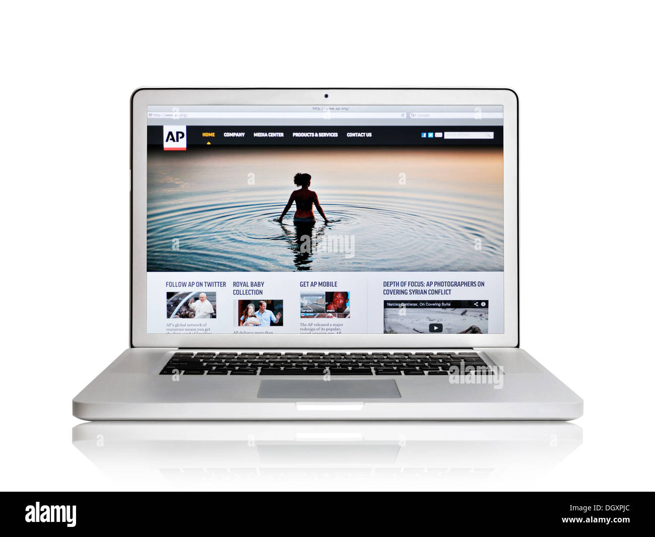 Associated Press website on laptop screen - Stock Image