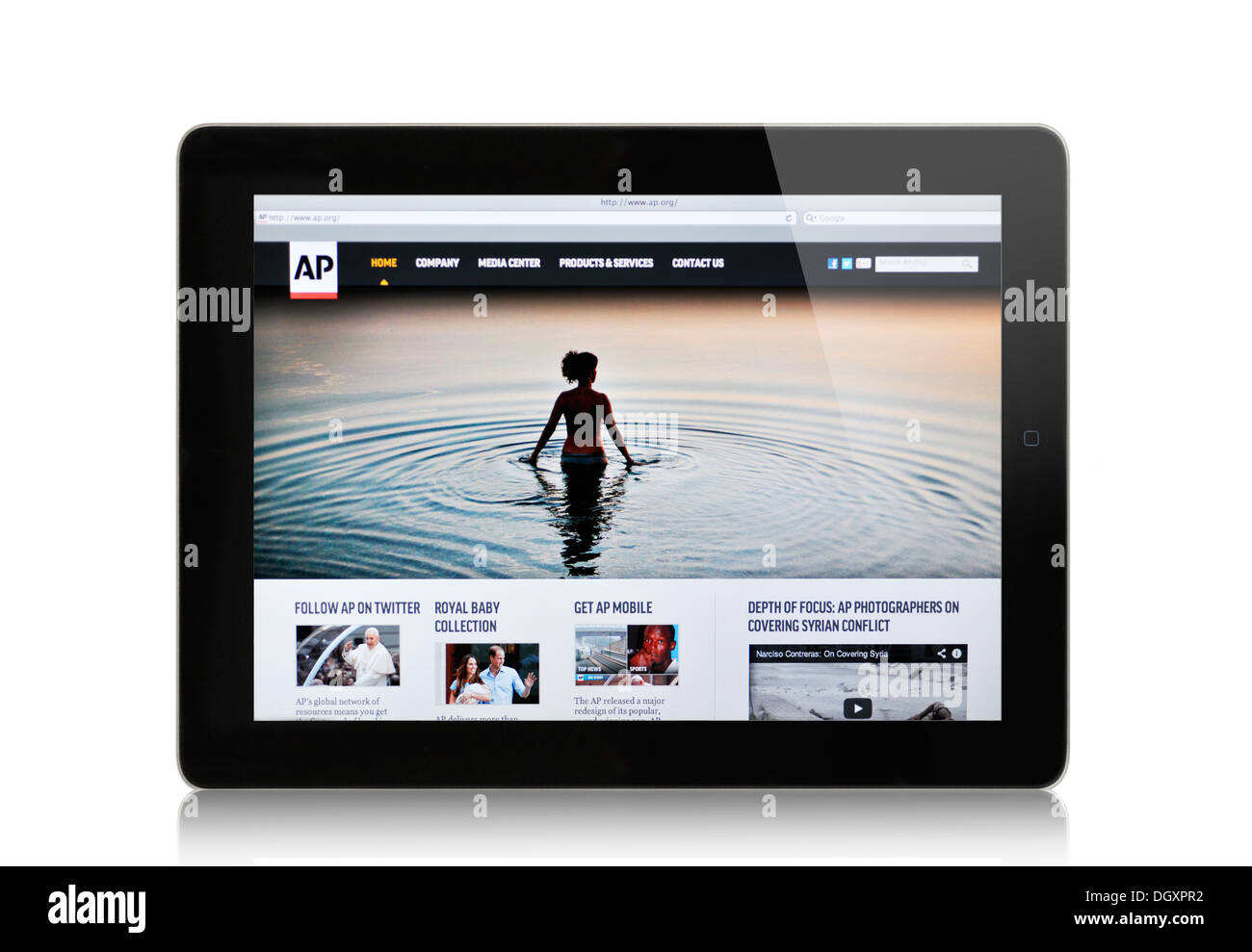 Associated Press website on iPad screen - Stock Image