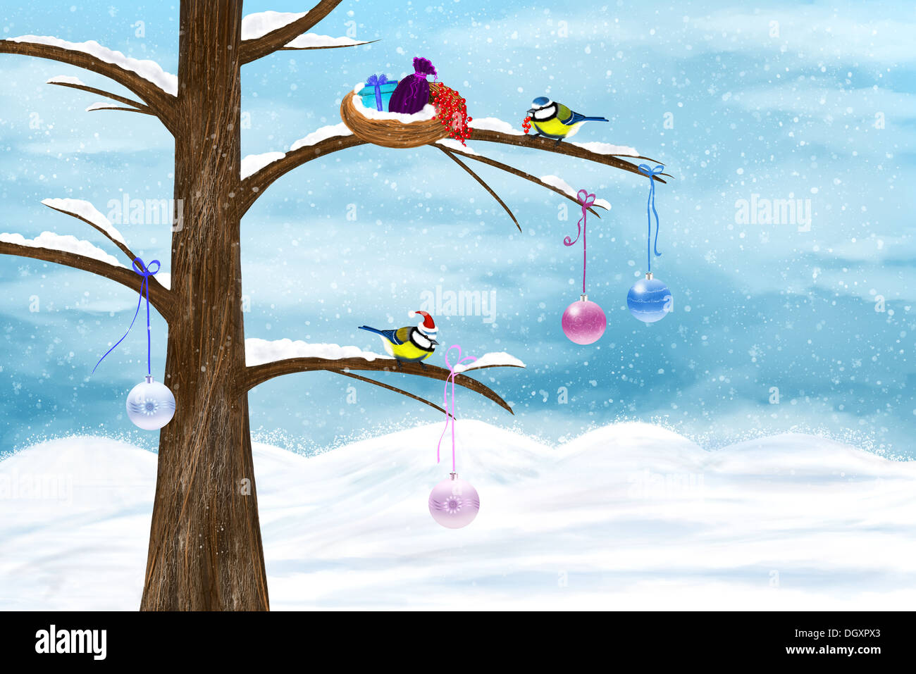 Chickadees celebrate Christmas on the tree. Festive winter illustration. - Stock Image