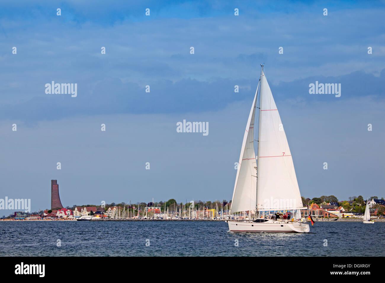 Sailboat on the Baltic Sea near Kiel, Germany - Stock Image
