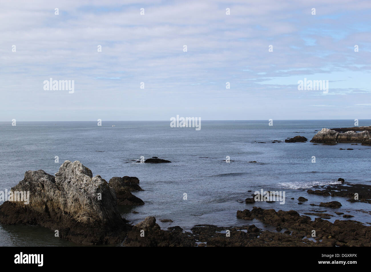 Cote sauvage - wild coast(Atlantic) in the north of France with ship - Stock Image