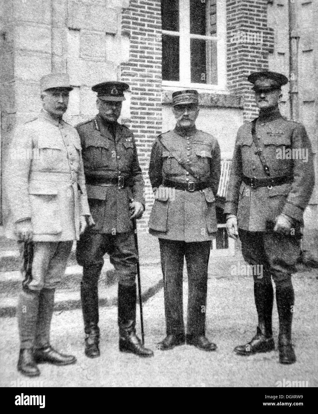 Old photograph of Supreme Allied Commanders Pétain, Haig, Foch, and Pershing, WWI - Stock Image