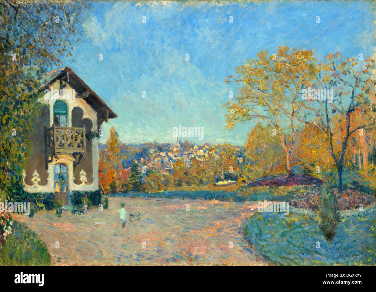 View of Marly-le-Roi from Coeur-Volant - by Alfred Sisley, 1876 - Stock Image