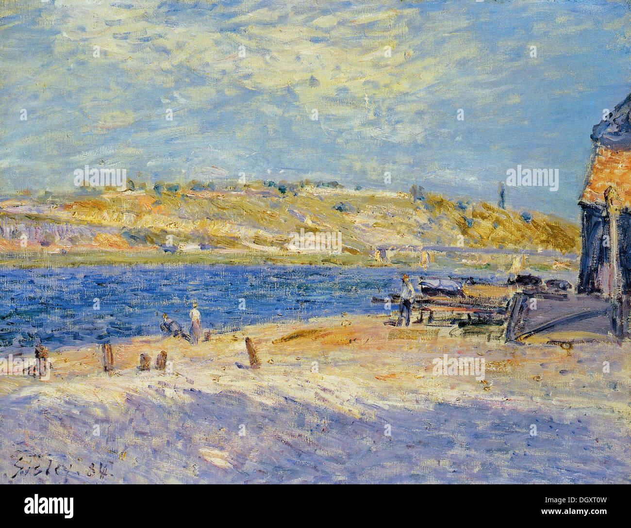 River Banks at Saint Mammes - by Alfred Sisley, 1884 - Stock Image