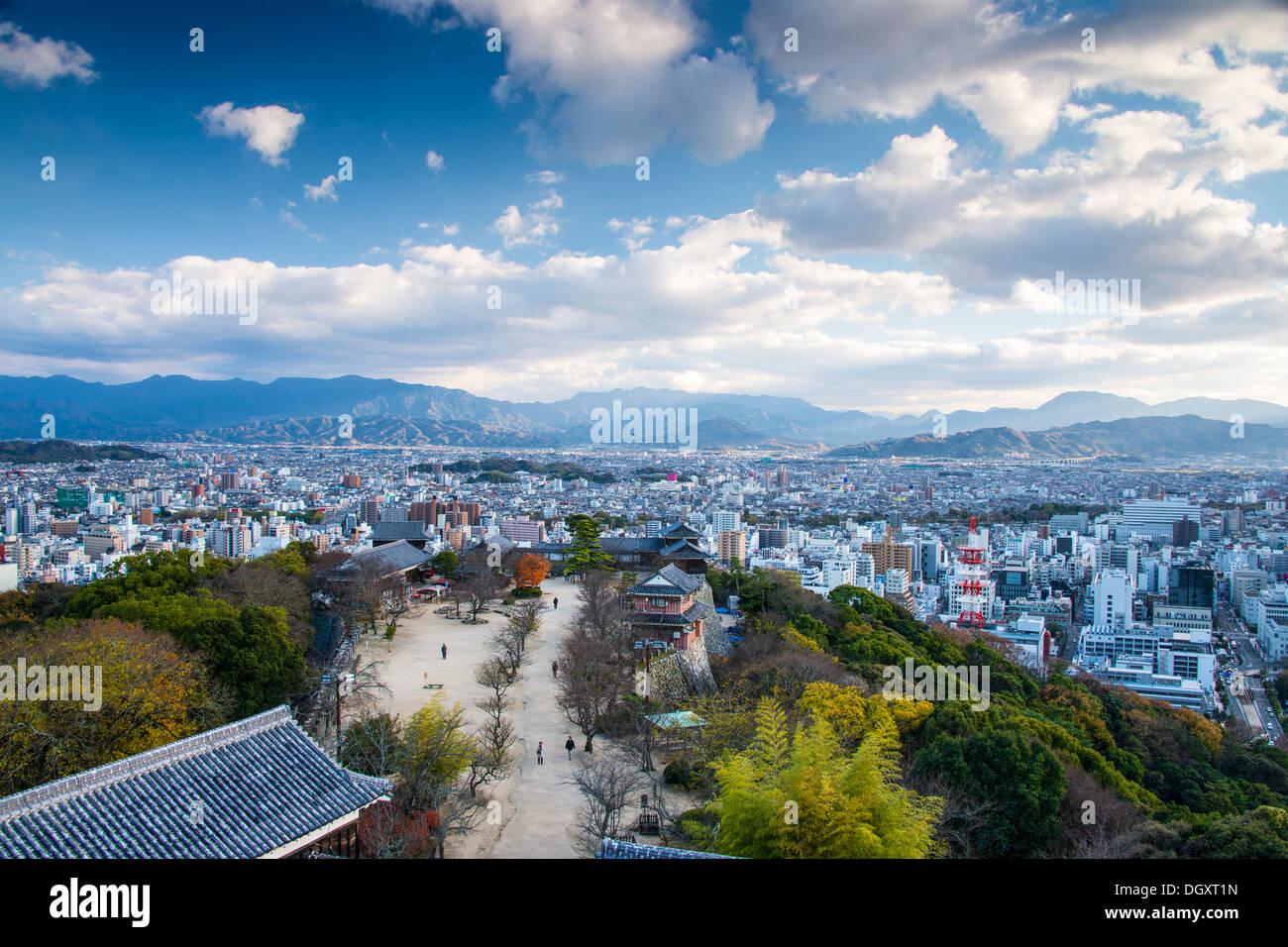 Matsuyama, Japan from Matsuyama Castle. - Stock Image