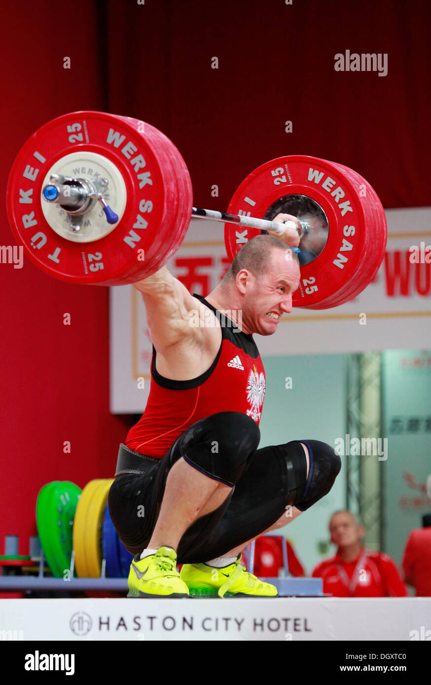 Wroclaw, Poland. 27th Oct, 2013. Marcin Dolega (POL) during Men's 105 KG Group A Final at 2013 IWF World Weightlifting Championships in Wroclaw, Poland, on Sunday, October 27, 2013. Credit:  Piotr Zajac/Alamy Live News - Stock Image