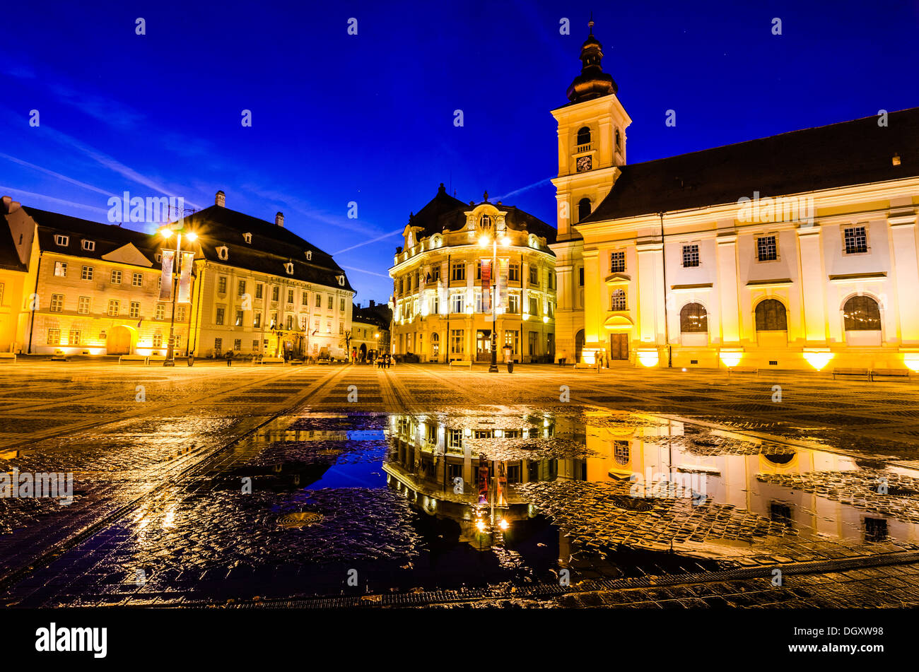 Sibiu town square at blue hour - Stock Image
