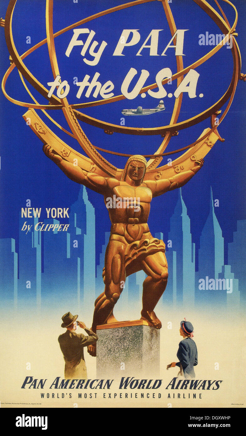 Pan American Airlines vintage travel poster, 1955 - Editorial use only. - Stock Image