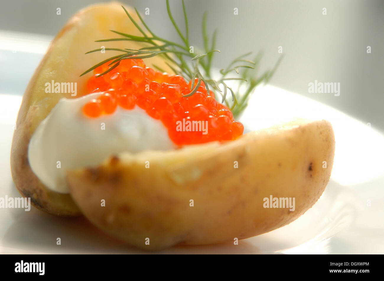 Baked potato with caviar and dill - Stock Image