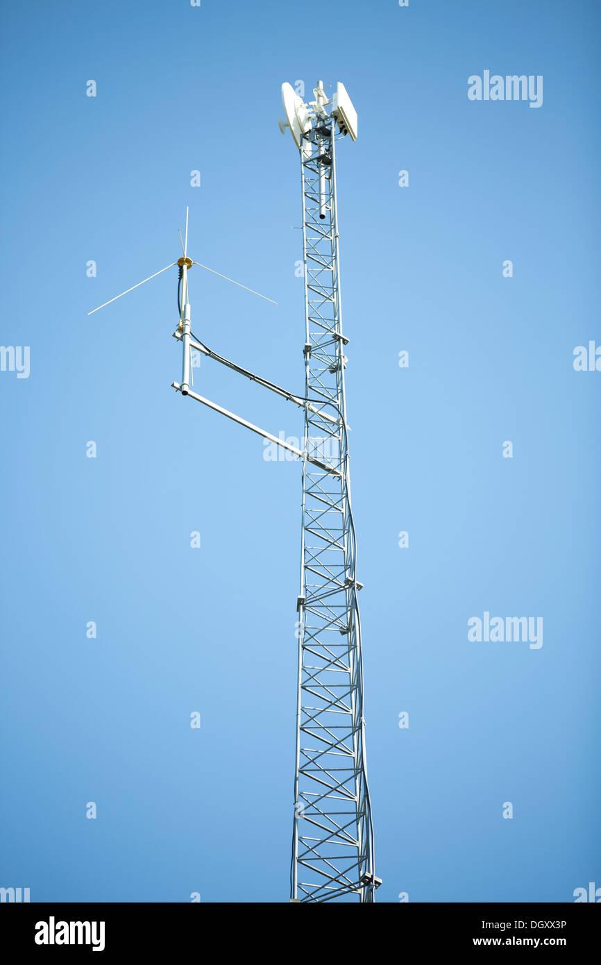 Satellite communication pole - Stock Image