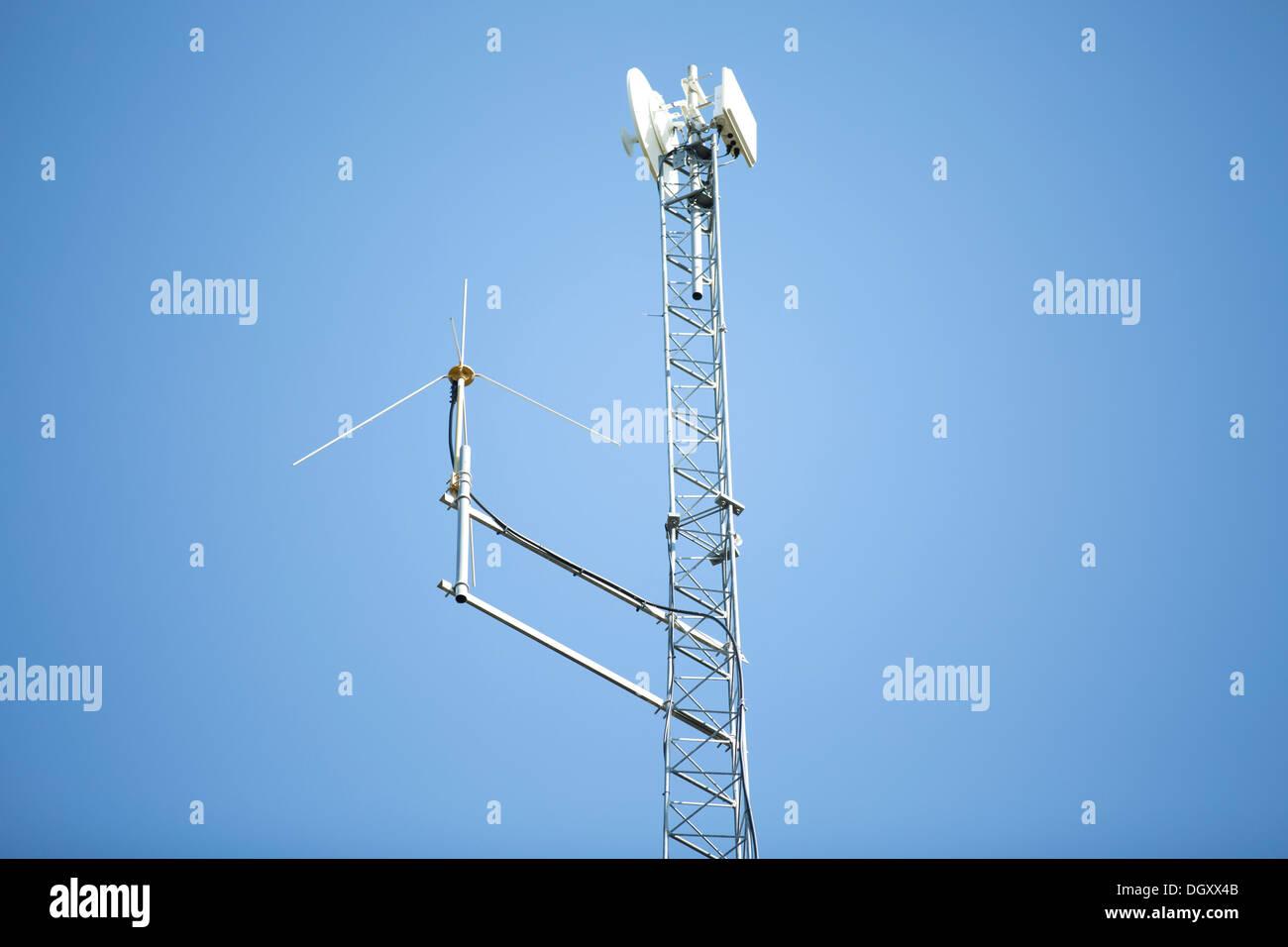 Satellite transmission pole metal - Stock Image