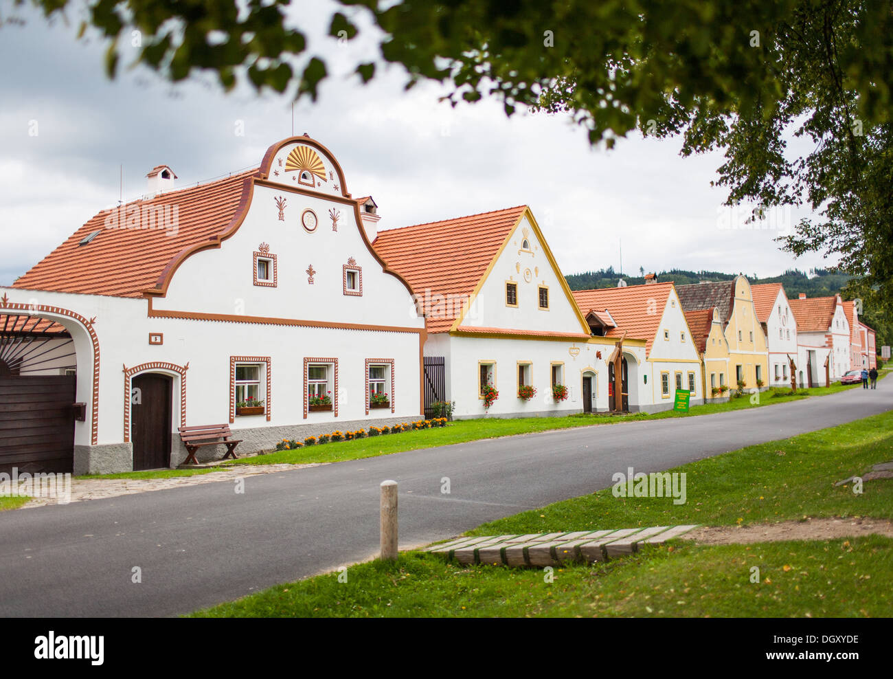 HOLASOVICE, CZECH REPUBLIC. Village Holasovice, UNESCO World Heritage Site. Buildings in the baroque style - Stock Image