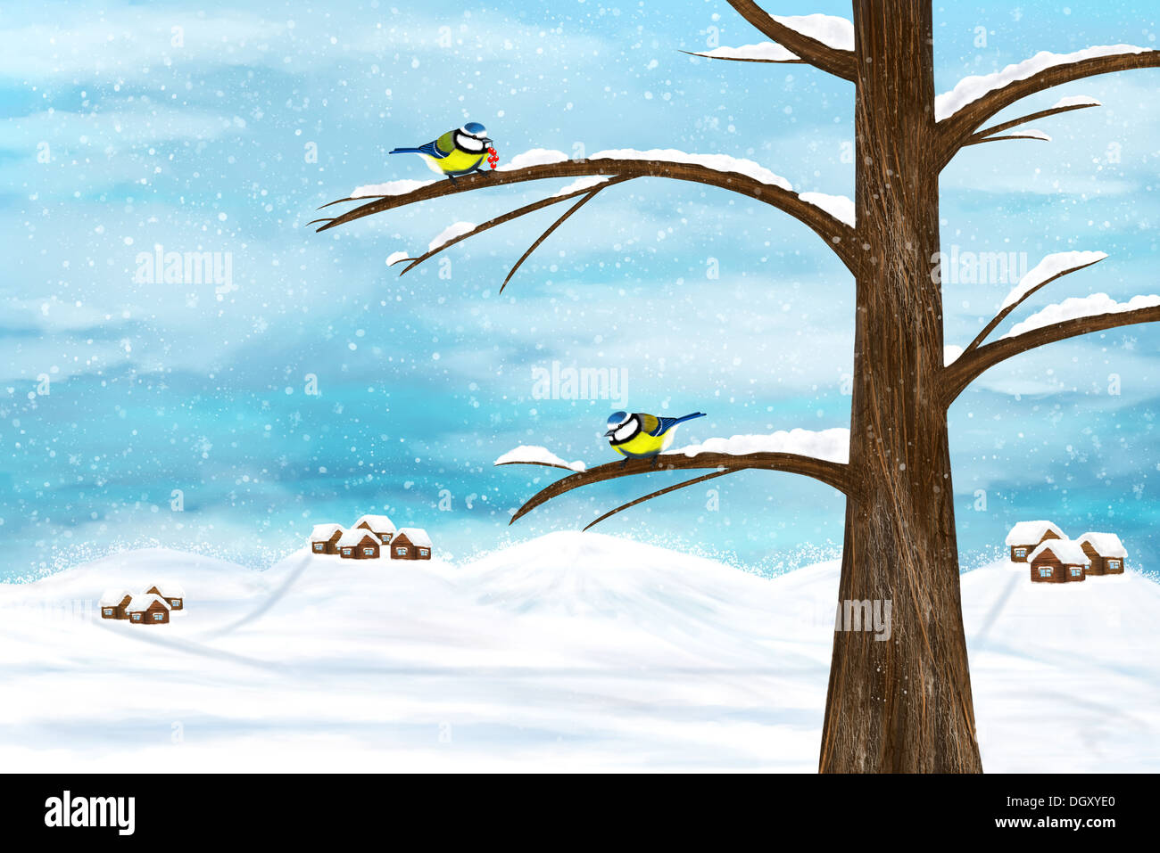 Black capped Chickadee birds on a tree. Winter illustration. - Stock Image
