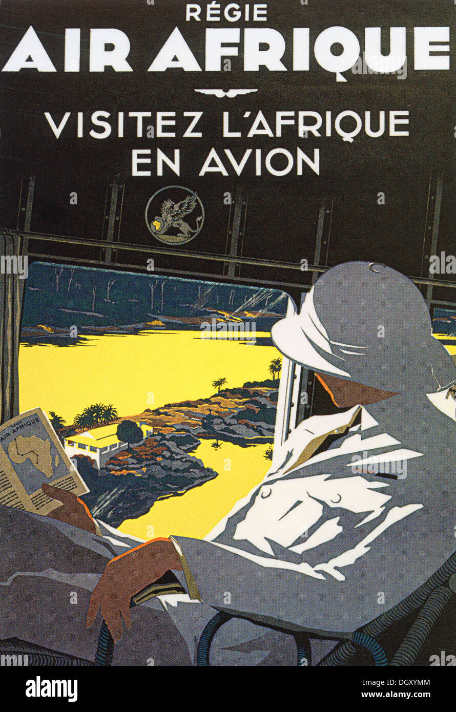 Visit Africa by Air Afrique Airlines ad vintage travel poster, 1936 - Editorial use only. - Stock Image