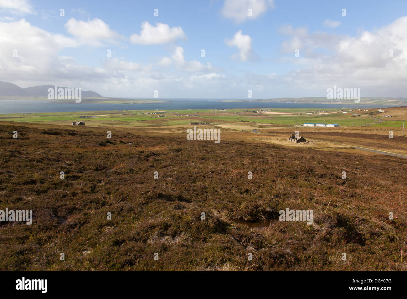 Islands of Orkney, Scotland. View of Orkney's Mainland with the town of Stromness, in the distance, on the right Stock Photo