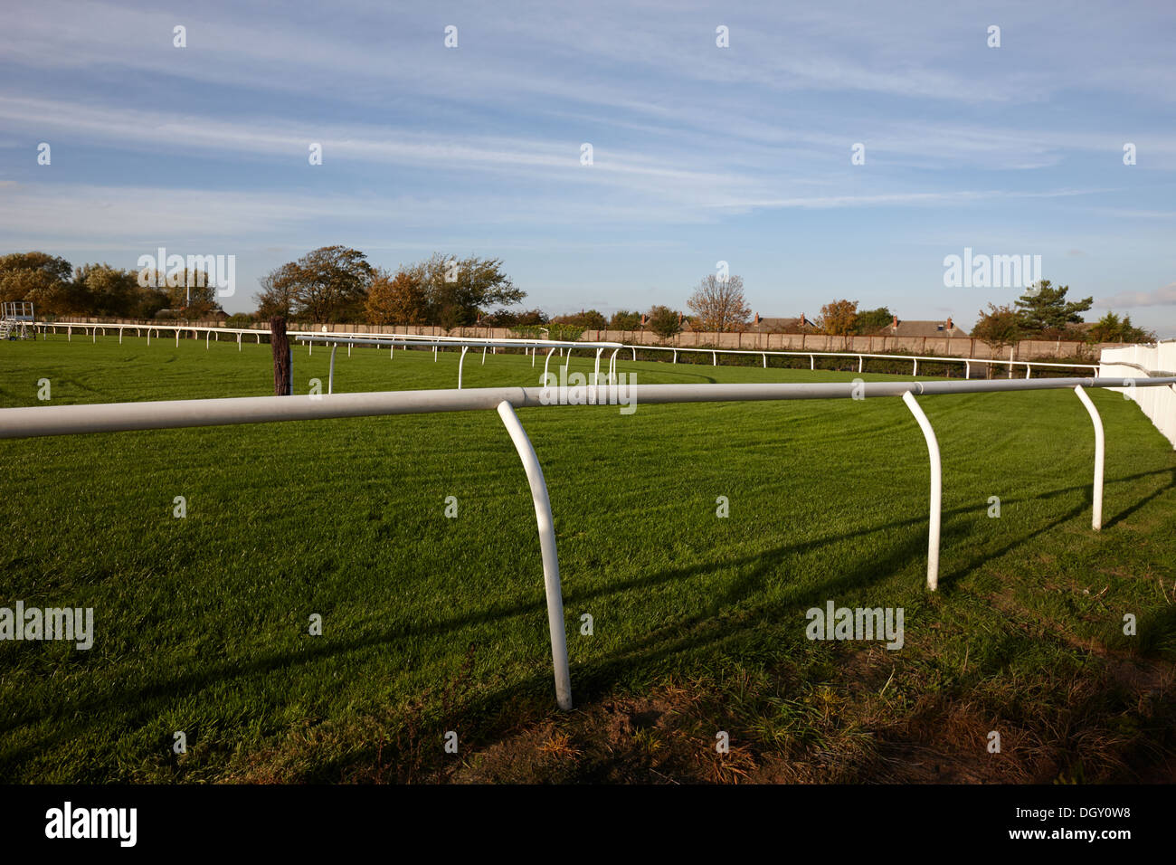 rails and barriers on aintree racecourse merseyside england - Stock Image