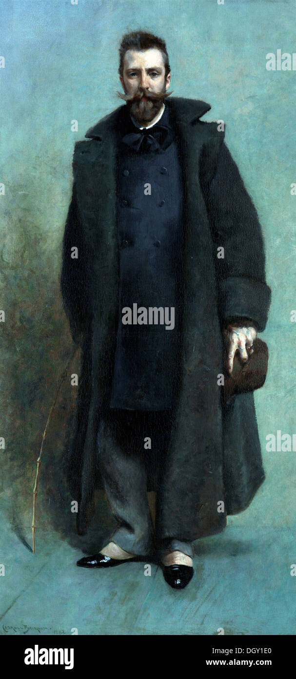 James Carroll Beckwith, Portrait of William Merritt Chase 881-1882 Oil on canvas. Indianapolis Museum of Art, Indiana. - Stock Image