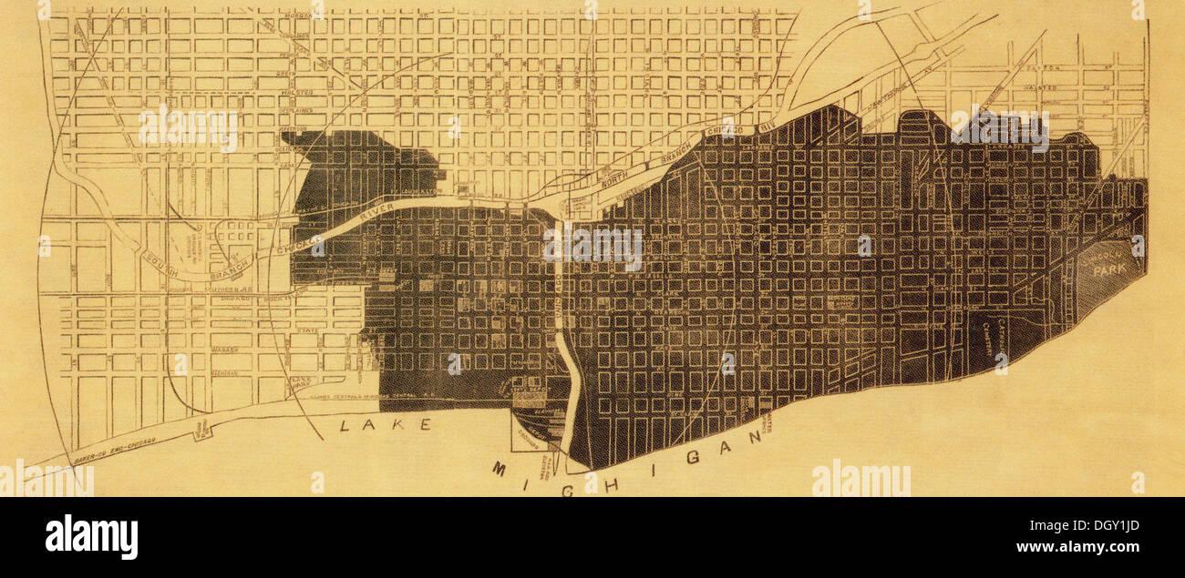 1871 Chicago Fire Destruction Map Stock Photo 62059605 Alamy