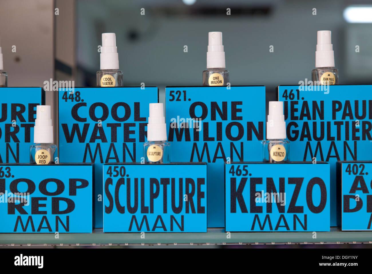 Bottles of perfume for men in a perfumery in Rovinj, Rovingo, Istria, Croatia, Europe, Rovinj, Croatia Stock Photo