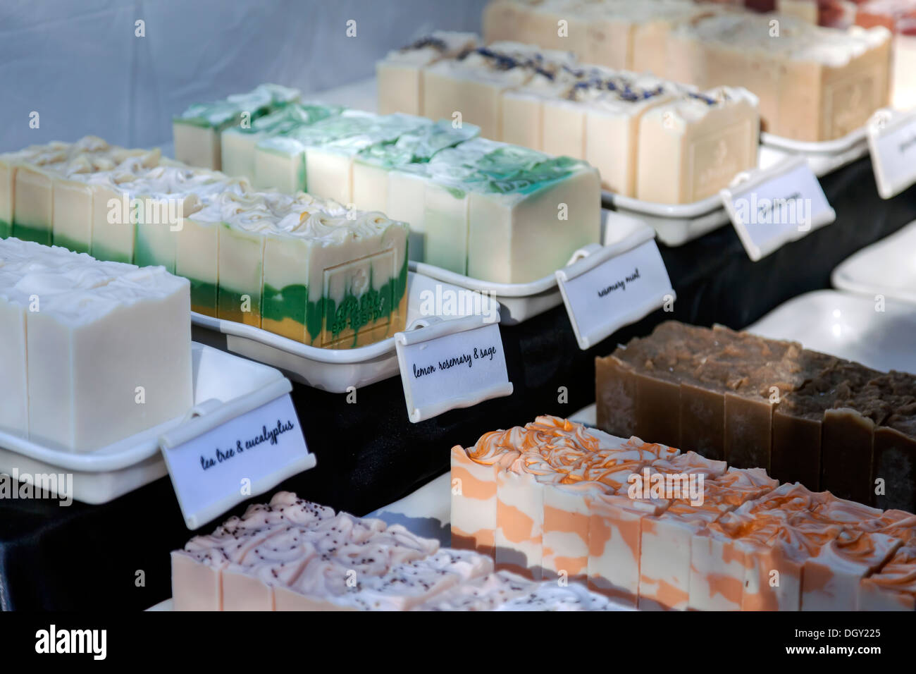 Artisan hand made bath and body soaps on sale at the Mount Dora Arts and Crafts Fair. - Stock Image