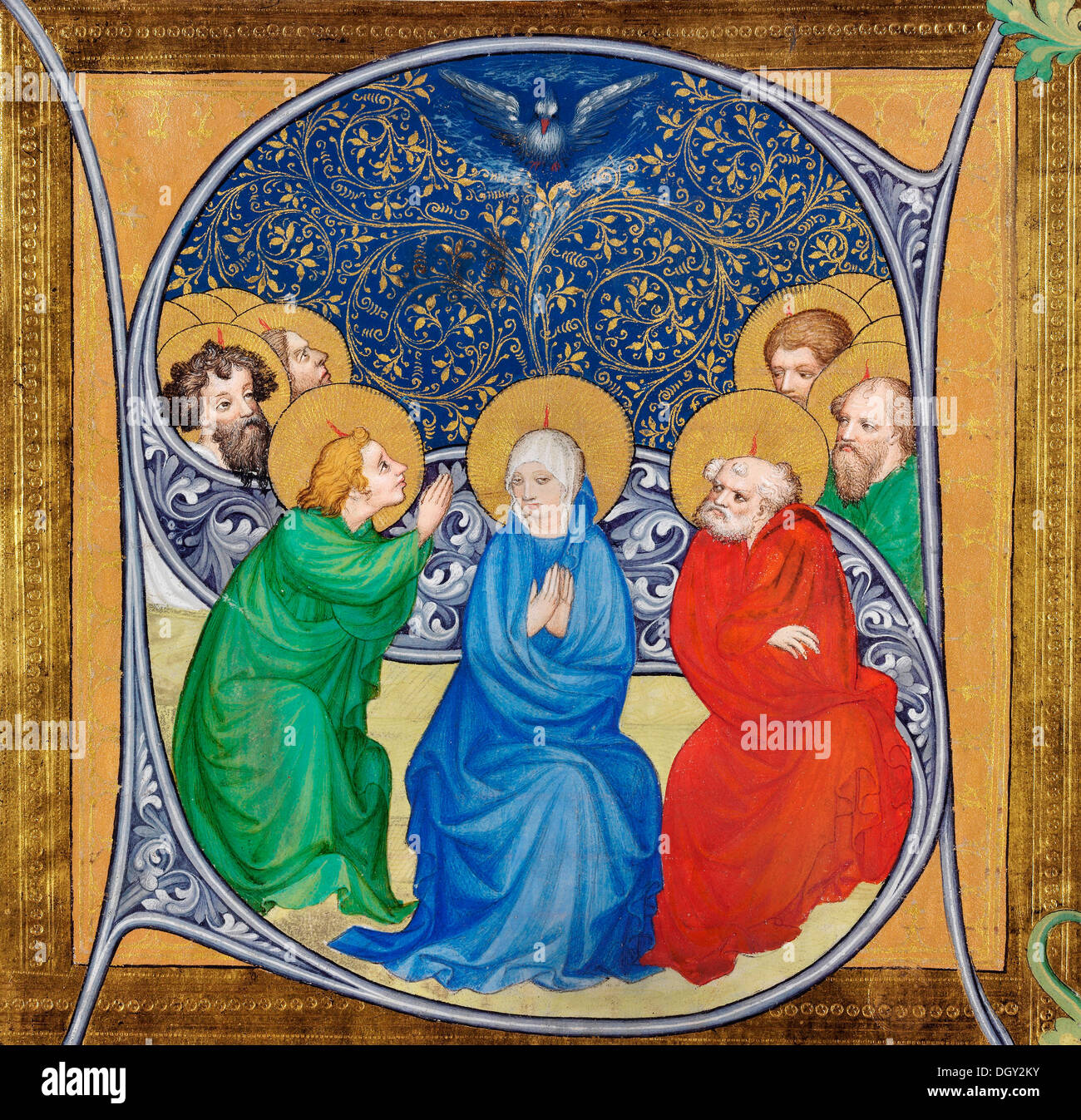 Bohemian Master, The Pentecost. 1413-1415 Tempera and gold on parchment. Museum of Fine Arts, Budapest. - Stock Image