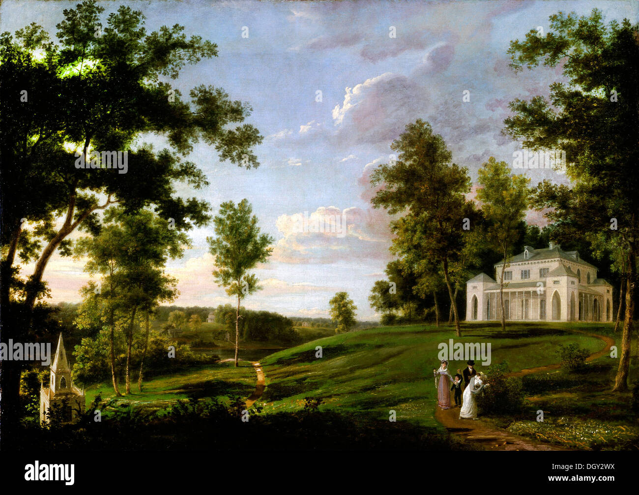 Thomas Birch, Southeast View of 'Sedgeley Park,' the Country Seat of James Cowles Fisher, Esq. Circa 1819. Oil on canvas. - Stock Image