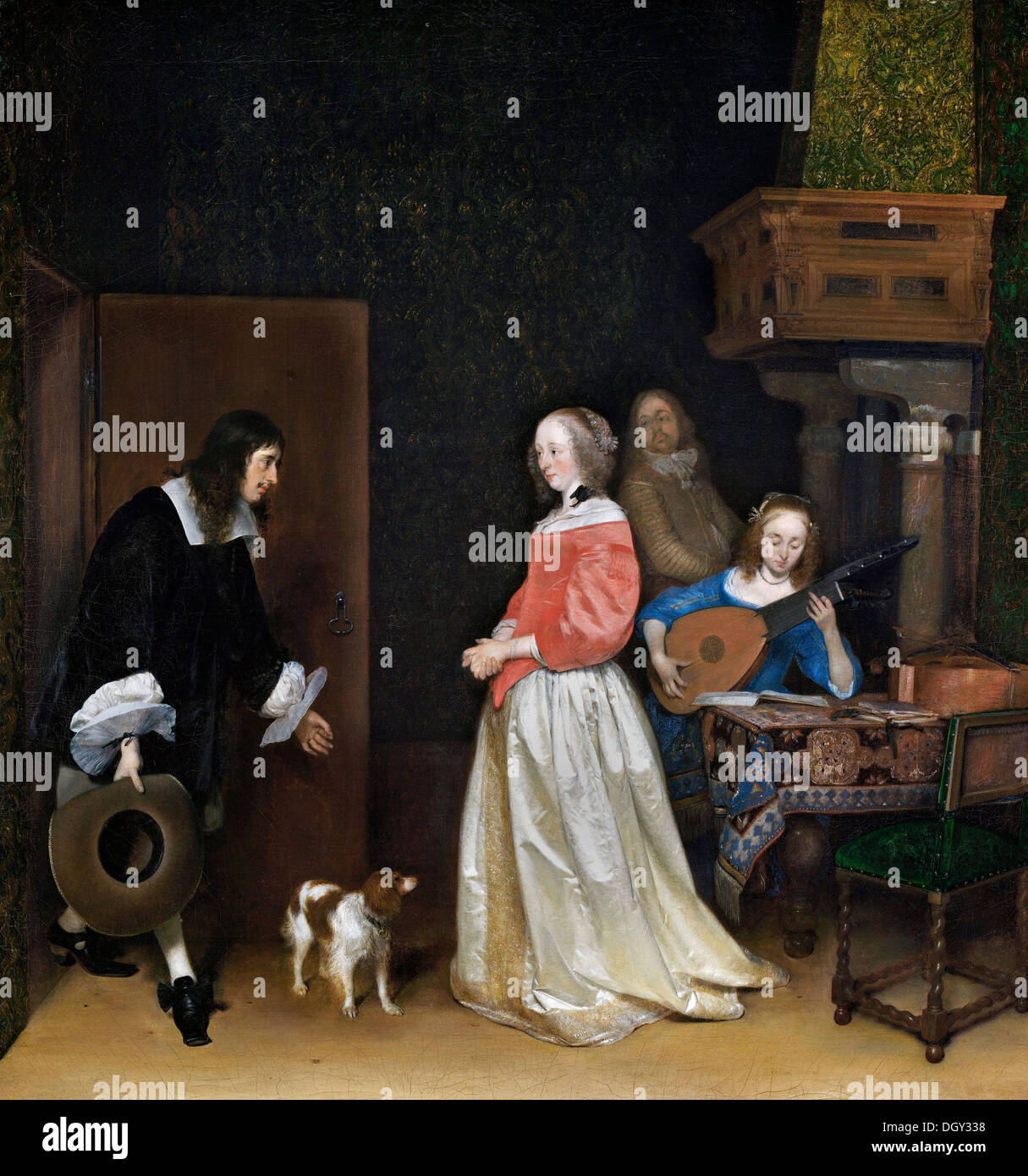 Gerard ter Borch, The Suitor's Visit. Circa 1658. Oil on canvas. National Gallery of Art, Washington, D.C. Stock Photo