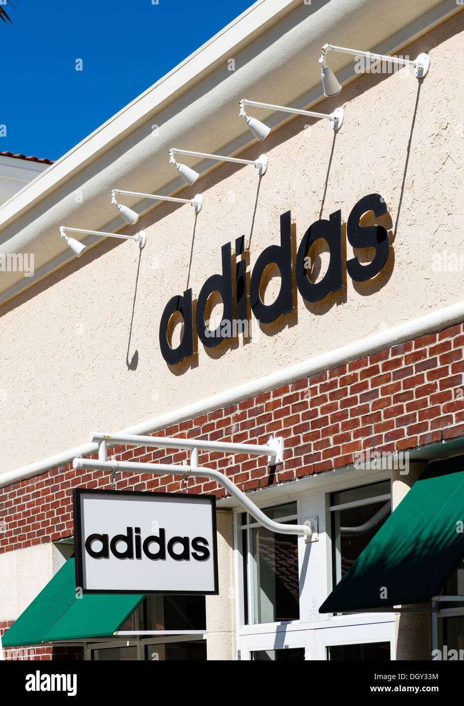 Adidas factory outlet store at Orlando Premium Outlets Mall, Vineland Avenue, Lake Buena Vista, Orlando, Central Florida, USA - Stock Image