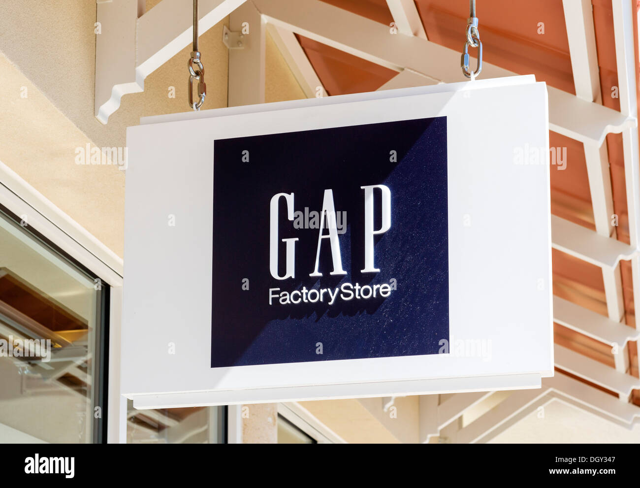 GAP factory store at Orlando Premium Outlets Mall, Vineland Avenue, Lake Buena Vista, Orlando, Central Florida, USA - Stock Image
