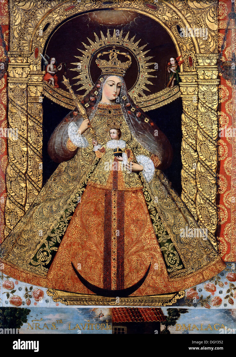 Bolivia, Virgin of the Victory of Malaga. Circa 1740. Oil on canvas with gold leaf. Denver Art Museum, Denver, USA. - Stock Image