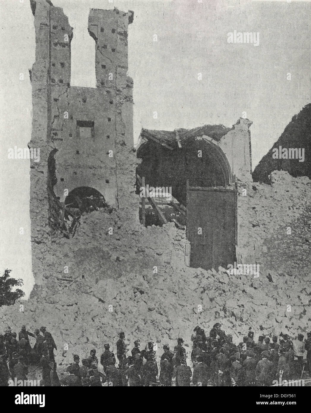 A Demolished Church in Messina - Messina Earthquake, Italy 1908 - Stock Image