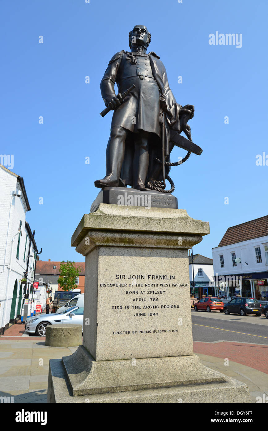 Sir John Franklin statue, Cornhill, Spilsby, Lincolnshire, England, United Kingdom - Stock Image