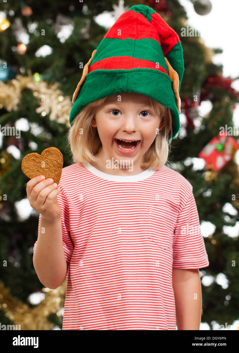 A cute excited boy dressed as Santa's helper is holding gingerbread cookie in front of a Christmas tree. - Stock Image