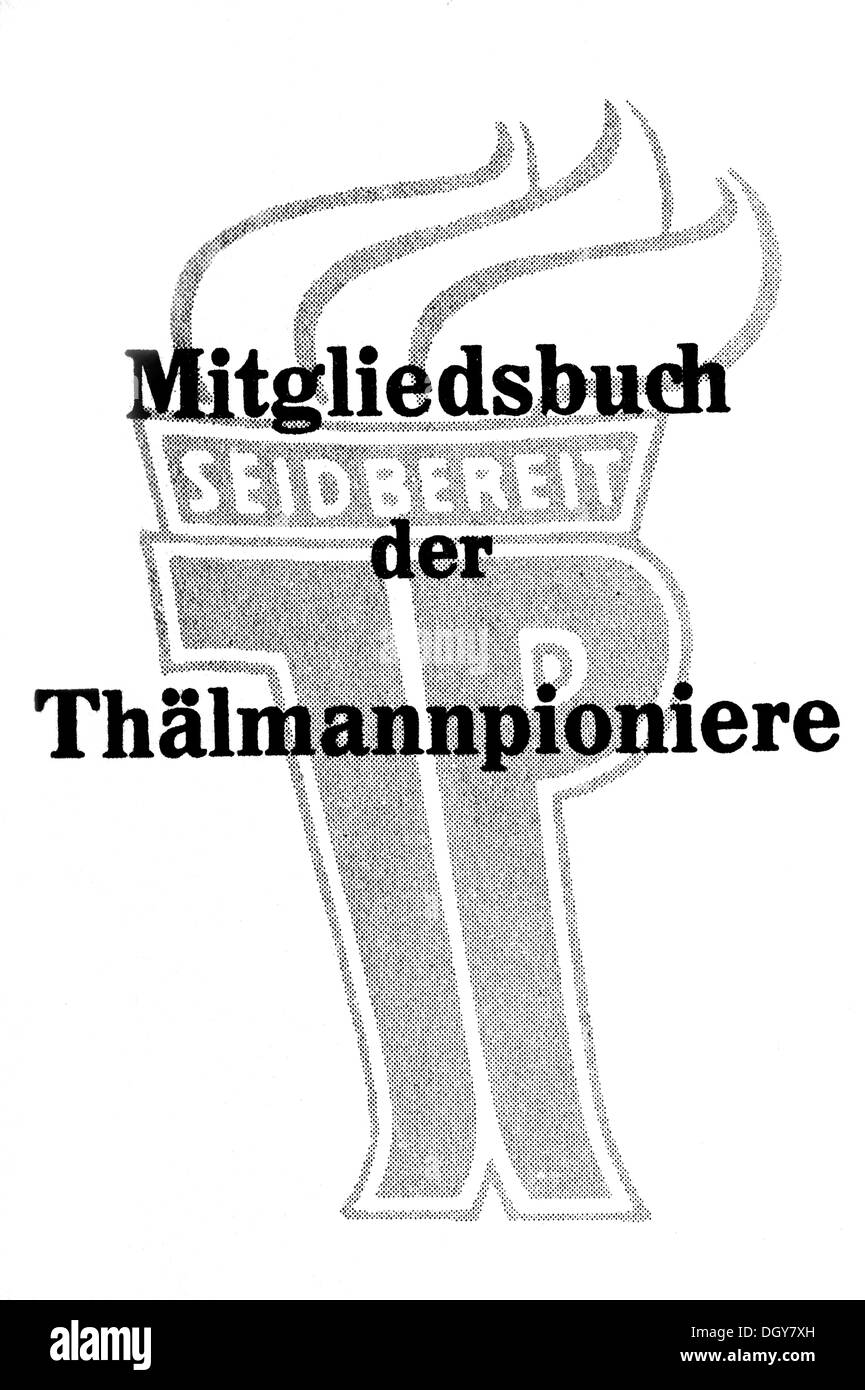 Logo of the Thaelmann Pioneers in a members book - Stock Image