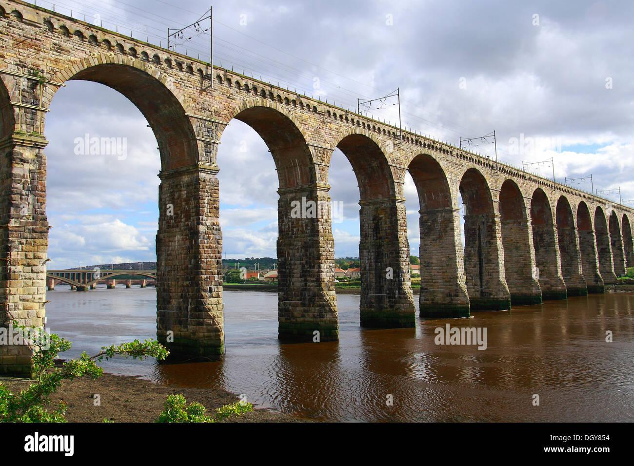 Railway bridge, stone bridge, River Tweed, Berwick-upon-Tweed, Scotland, United Kingdom, Europe - Stock Image