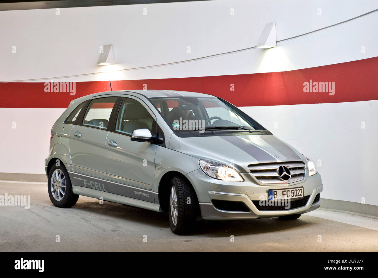 Hydrogen fuel cell vehicle, Mercedes B-class zero-emission, Berlin - Stock Image