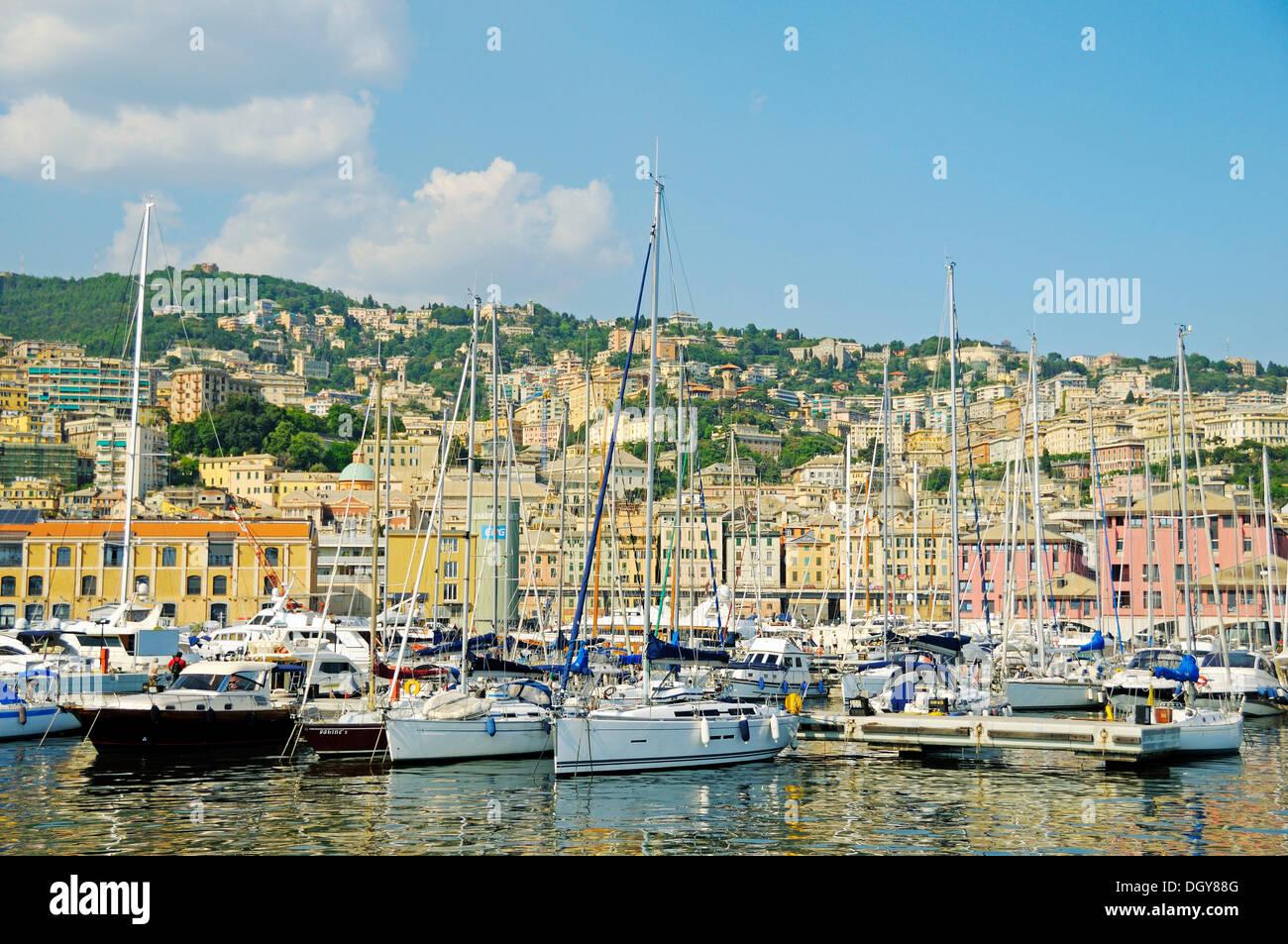 Sailing boats at Porto Antico, the Old Port of Genoa, Liguria, Italy, Europe - Stock Image