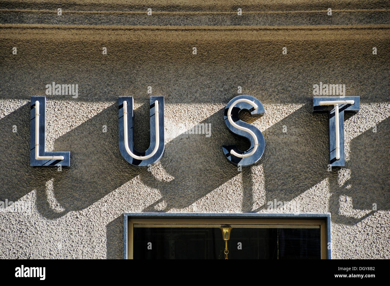 Old neon sign with the word Lust, Vienna, Austria, Europe - Stock Image