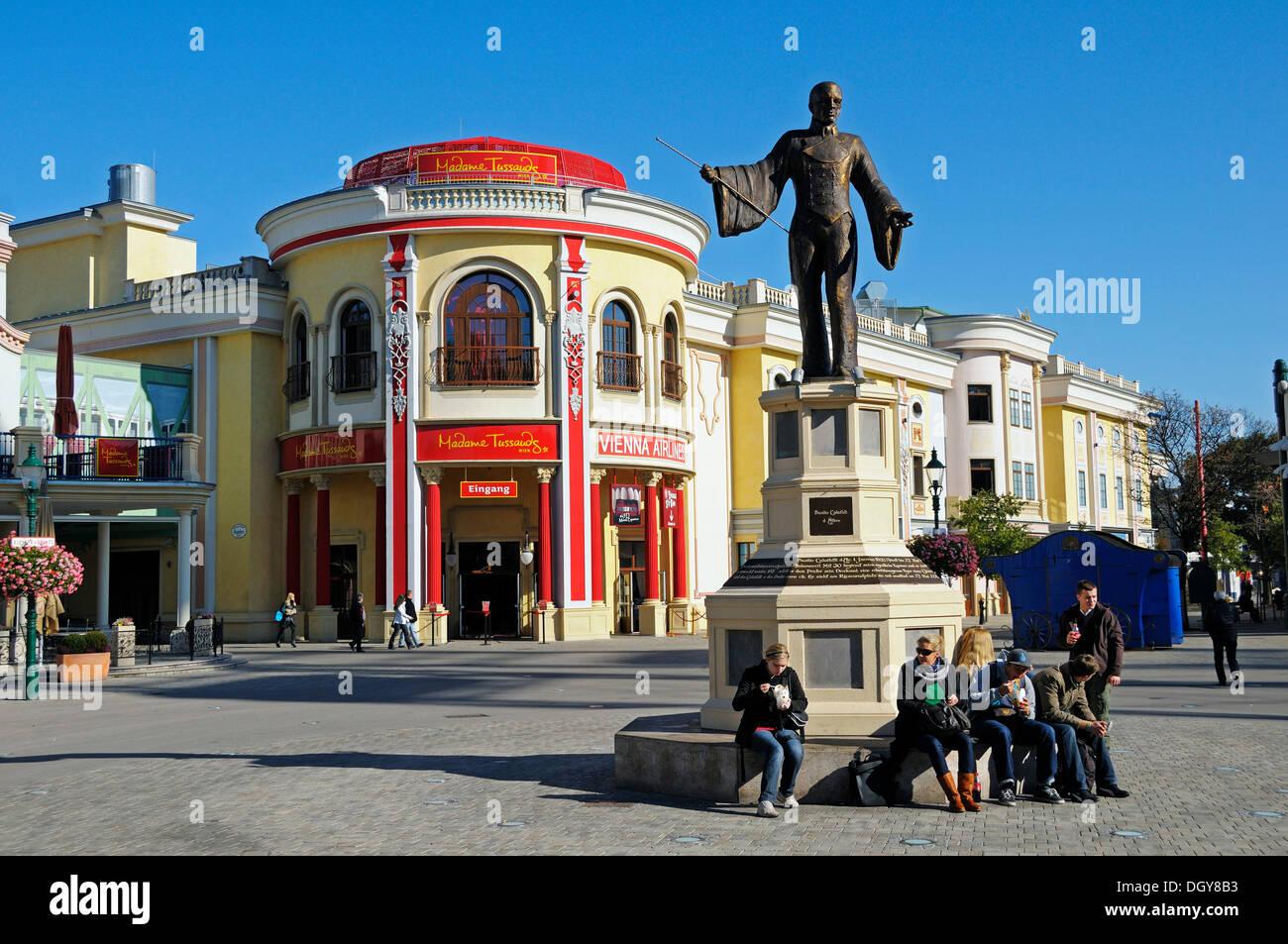 Monument of Basilio Calafati in front of Madame Tussauds Wax Museum, Prater amusement park, Vienna, Austria, Europe - Stock Image