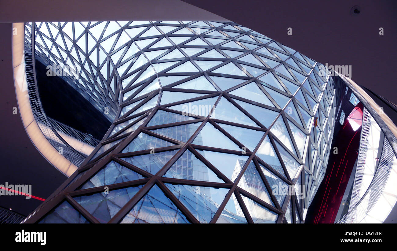 Architectural detail of a modern shopping mall, My Zeil, Frankfurt, Hesse - Stock Image