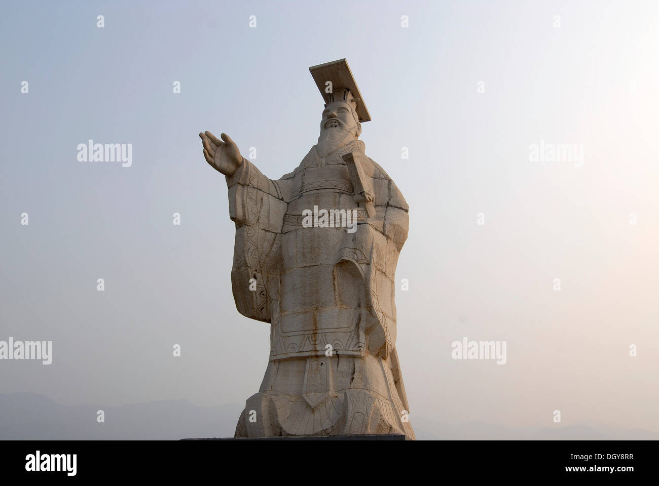 Statue Of Emperor Qin Shi Huang In Front The Mausoleum At Xian Shaanxi