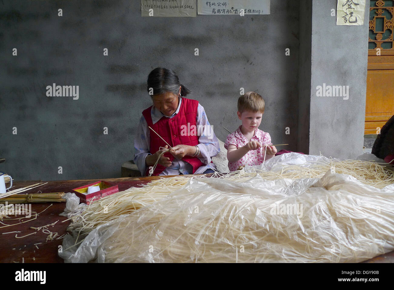 Encounters in China, young European girl helping on old Chinese woman making incense sticks, Moxi, Hailuogou, Sichuan, China Stock Photo